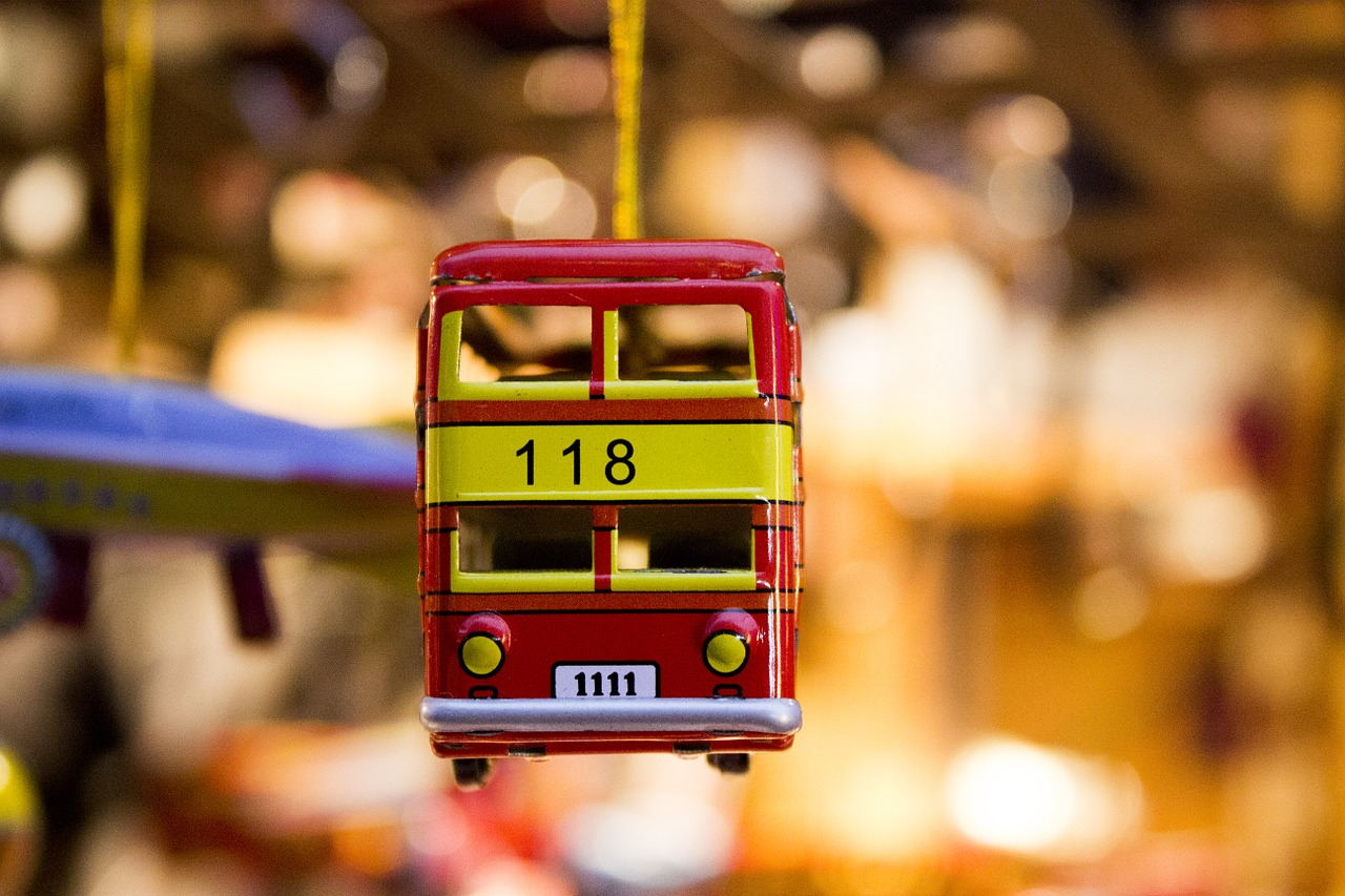 Red double-decker bus toy