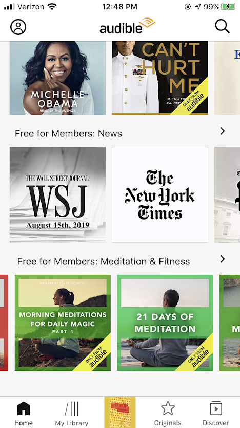 A screenshot of the Audible app showing free sections in news and meditation and fitness